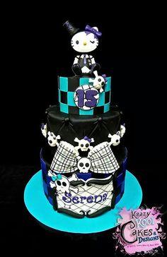goth kitty @kristinal96 Hello Kitty Cake Design, Bolo Da Hello Kitty, Hello Kitty Birthday Cake, Sanrio Hello Kitty, 9th Birthday, Cool Cake Designs, Cookie Designs, Cupcakes, Cupcake Cookies