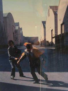 The moment after the Wish You Were Here Pink Floyd`s album cover was photographed - LA, 1975
