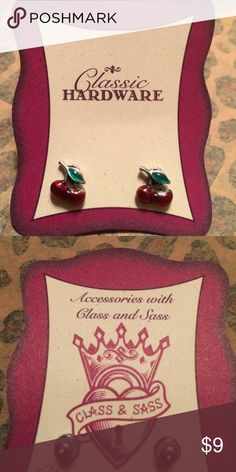🍒 Stud Earrings by Classic Hardware Adorable silver with enamel red/green to make 🍒. New and still on the card they came on. Don't forget to take advantage of my bundle discount! Classic Hardware Jewelry Earrings