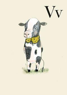 V for Vaca - Alphabet art - Alphabet print - ABC wall art - ABC print - Nursery art - Nursery decor - Kids room decor - Children's art