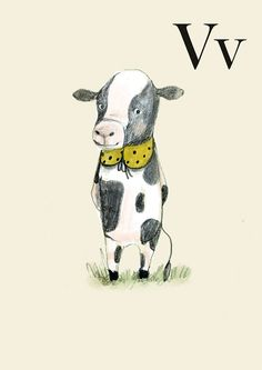 V for Vaca  Alphabet art  Alphabet print  ABC wall art  by holli, $10.00