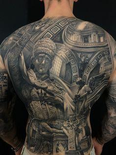 Religious black and grey backpiece made by artist Ruben Jordan Langsted out of 'Death or Glory' in Copenhagen Full Leg Tattoos, Torso Tattoos, Back Tattoos For Guys, Black Ink Tattoos, Black And Grey Tattoos, Body Art Tattoos, Sleeve Tattoos, Tattoo Espalda, Tattoo Mafia