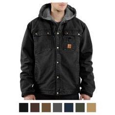 Carhartt Men's Sanstone Hooded Sherpa Lined Multi-Pocket Jacket J284