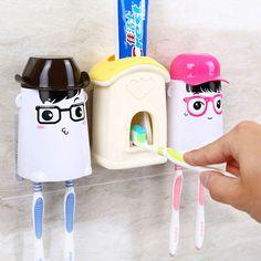 Cartoon Automatic Toothpaste Dispenser Family Gargle Toothbrush Holder