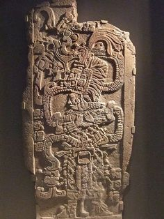 STAR GATES: AN ASTRONAUT WITH COMPLETE EQUIPMENTS  READY TO TRANSFER??? Mayan Stela with Queen Ix Mutal Ahaw Limestone 761 CE Mexico Guatemala or Belize (1) by mharrsch.