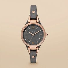 leather watch from Fossil's rose gold collection.