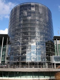 The Silo at Volkswagen's transparent factory in Dresden. VW allows Phaeton buyers to pick up their cars at the factory. Eighty percent of German buyers and a surprising number of global customers take the company up on the offer. This massive glass silo adds a sense of occasion to the pilgrimage.