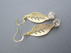 Gold plated leaf charm with Cubic Zirconia dangle by Muse411, $23.00