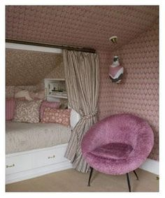 slanted wall; bed built-in to slanted wall; knee wall; romantic pink girl's room