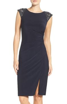 Great holiday dress! Vince Camuto Beaded Sheath Dress (in petite) - Nordstrom