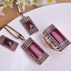 Vintage Ruby Jewelry Sets Antique Gold Plated Square Red Necklace Earring Ring Set Princess Hooks Earrings Big Size Rings Colar Great, huh? Visit our store