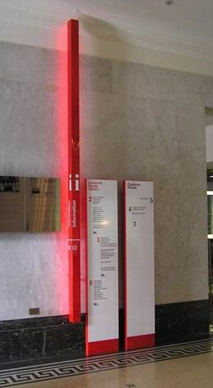 Backlit aluminium suspended ceiling signs with subsurface graphics and aluminium monuments with applied graphics. Directional Signage, Wayfinding Signs, Outdoor Signage, Signage Display, Signage Design, Environmental Graphic Design, Environmental Graphics, Index Design, Sign Board Design
