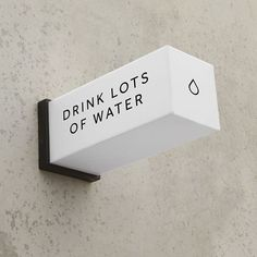 We're fizzing on the new sign we've made for our workshop so that Jarred remembers to drink water. We're going to sell these as blanks,… Retail Signage, Wayfinding Signage, Signage Design, Shop Signage, Banner Design, Corporate Design, Cafe Shop Design, Neon Box, Building Signs