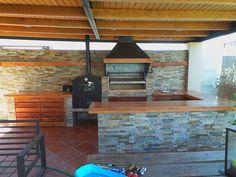 Pergola With Retractable Canopy Kit Code: 1253907364 Outdoor Kitchen Grill, Outdoor Barbeque, Outdoor Cooking Area, Backyard Kitchen, Outdoor Kitchen Design, Barbecue, Outdoor Patio Designs, Pergola Designs, Wooden Pergola