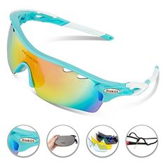 ef5bbfd028 RIVBOS 801 POLARIZED Sports Sunglasses with 5 Interchangeable Lenses  (UpGrade TR Blue) -  sunglasses
