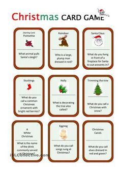 Christmas Card Game worksheet - Free: it's fun to play! A card game(24 cards) for three - six players. Instructions are included on page three