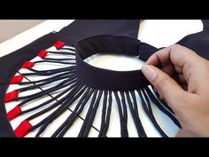 Model blouse pack neck dori gala design cutting and stitching /blouse designs Chudidhar Neck Designs, Salwar Neck Designs, Neck Designs For Suits, Kurta Neck Design, Sleeves Designs For Dresses, Blouse Back Neck Designs, Neckline Designs, Fancy Blouse Designs, Sleeve Designs