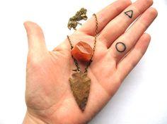 Brown arrowhead necklace Arrowhead Pendant by HomeGrownIllinois, $14.00