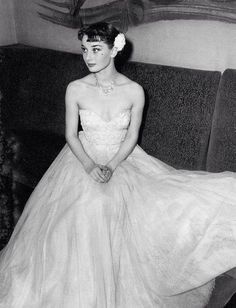 Audrey Hepburn before a performance, during the run of her dance revue, 1950