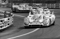 Helmut Marko and Gijs van Lennep pull into the lead in their Porsche 917 at Tertre Rouge during the 24 hour race at Le Mans Sports Car Racing, Race Cars, Le Mans, Vintage Race Car, Porsche 911, Motor Car, Cars And Motorcycles, Competition, Martinis
