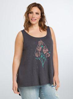 Plus Size Distressed Floral Hi-Lo Tank Top,