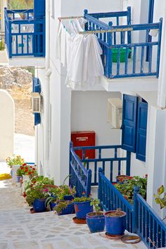 Traditional blue and white in Santorini