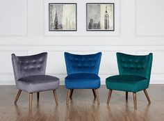 Armchairs And Accent Chairs, Blue Accent Chairs, Velvet Accent Chair, Side Chairs, Dining Chairs, Mid Century Armchair, Langley Street, Wingback Chair, Flooring