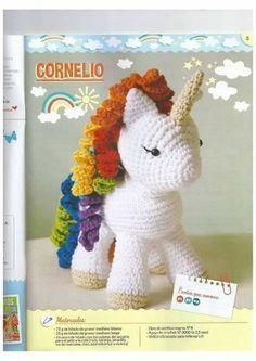 Tutorial de unicornio tejido con ganchillo Crochet Fairy, Crochet Horse, Crochet Cat Pattern, Crochet Amigurumi Free Patterns, Crochet Unicorn, Crochet Bear, Crochet Animals, Diy Crochet, Crochet Dolls