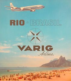 Varig :: Airline Poster Art - The Airline Poster Art Collection Retro Airline, Airline Travel, Vintage Airline, Air Travel, Air France, Vintage Travel Posters, Vintage Postcards, Vintage Advertisements, Vintage Ads