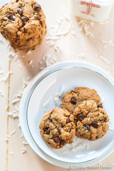 Healthy Coconut Chocolate Chip Cookies. A guilt free chocolate chip cookie with a coconut twist
