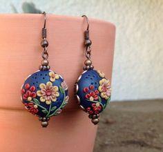 Polymer Clay and Copper Earrings, polymer clay jewelry, boho gypsy, garden, flowers, earrings, women, blue earrings on Etsy, $25.00