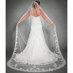 Wedding Veil One-tier Chapel Veils / Cathedral Veils Lace Applique Edge 2016 – $33.99