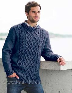 Вязание спицами мужского пуловера с косами
