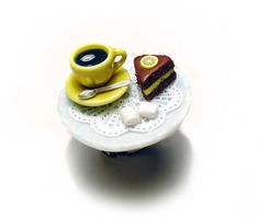 Coffee & Chocolate Lemon Cake Miniature Food Ring, Miniature Food Jewelry,