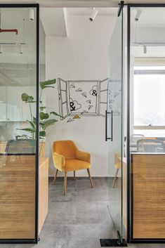 Industrial Interior Theme with Balanced Color Pops : The Expand Loft | Quirk Studio - The Architects Diary Open Space Office, Aesthetic Space, Vitrified Tiles, Black And White Artwork, Ikea Furniture, Tile Patterns, Industrial Style, Office Decor, Architects