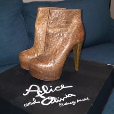 "Alice + Olivia Croc-embossed Ankle Boots Dare to brace the height of these heels? Show stopping booties for Fall! Towering 5-inch heels on a 1.5"" hidden platform. Size 7 1/2 ( Can fit a 7 ) I Narrow fit 
