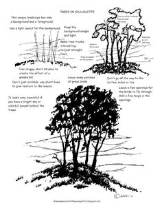 Printable How to draw a Tree in Silhouette Worksheet