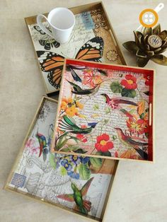 Decoupage For Beginners Decoupage Vintage, Decoupage Glue, Decoupage Tutorial, Decoupage Furniture, Creative Crafts, Diy Crafts, Paper Crafts, Wooden Painting, Painted Trays