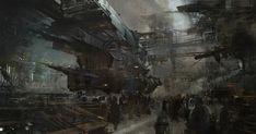 Spaceship art by our good friend Thomas Pringle. Thomas' robot art. Keywords: concept spaceship hangar doc...