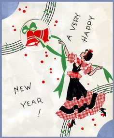 Happy New Year card Vintage Happy New Year, Happy New Year Cards, New Year Greeting Cards, New Year Greetings, Vintage Greeting Cards, Vintage Christmas Cards, Vintage Holiday, Xmas Cards, Christmas Art