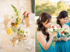 Teal blue dresses and beautiful bright florals for Lucille & Ben's wedding !