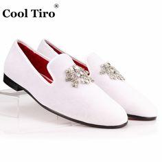 7506c329c53 COOL TIRO Velvet Dress Shoes Men Loafers Rhinestones Crystal Tassel Slippers  White Velour Luxury Banquet Men s