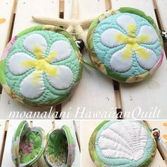 プルメリアとシェルのコインパース♡ちょっと大きい目です( ´艸`) #ハワイアンキルト#ハワイアン#プルメリア#シェル Hawaiian Quilt Patterns, Hawaiian Quilts, Textiles, Quilted Bag, Nalu, Kids Bags, Creative Inspiration, Baskets, Applique