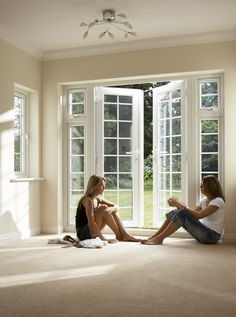 French doors w/ transom out to patio