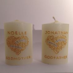 Godparents gift on the christening day of twins - who's names are engraved and painted within the filigree heart. Christening date is on the opposite side. www.candledesigns.ie Godparent Gifts, The Godfather, Pillar Candles, Christening, Filigree, Twins, Names, Heart, Day