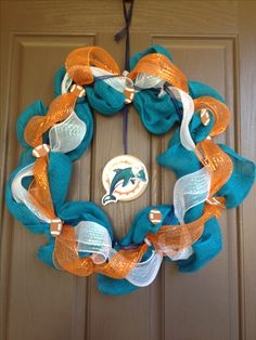 Miami dolphins mesh wreath need the new colors logo but must make!