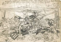 Sketches: Many of the images are hastily-drawn, such as this battlefield sketch showing British soldiers overwhelming an Austrian gun emplacement at Monte Mosiagh Cool Sketches, Amazing Sketches, Ww1 Art, Armistice Day, Smart Art, Military Art, Wwi, Titanic, Line Art