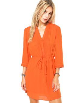 Dafiti CollectionVestido DAFITI UNIQUE Chemisier laranja com nervuras localizadas, modelagem chemisier com tira de ajuste na cintura,…