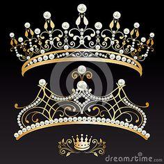 Grupo de duas tiaras e coroas douradas luxuosas com pérolas