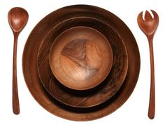 Sustainable Wood Bowls & Salad Serving Spoons